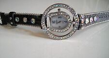 Designer Black Leather Band Geneva Horse Shoe Stone Women's Fashion Watch