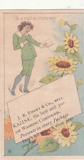 J R Emery & Co Kazine Washing Compound Boy Daisies  Vict Card  c1880s