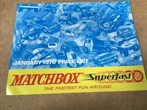 MATCHBOX TOYS CATALOGUE PRICE LIST 1970 UK EDITION IN EXCELLENT CONDITION