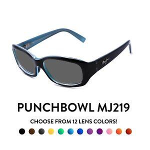 Maui Jim Punchbowl MJ219 Sunglasses - Black/Blue Frames