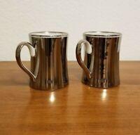 "Set of 2 Vintage Fitz And Floyd Discontinued ""Platinum Rondelet"" Design Mugs"
