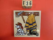 "Ceramic Art Tile 6""x6"" Dalmatian firehouse fireman clothes boots hat trivet  F36"