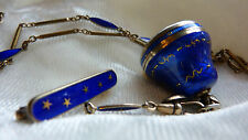 Antique Cobalt Blue Guilloche Enamel Pendant Watch - Buchurer Switzerland