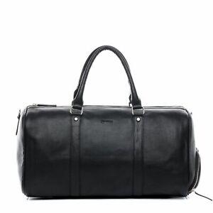 Weekender Leder Sporttasche mit Schuhfach Reise Damen Herren Tasche schwarz