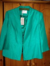 Jacques Vert Emerald Green Lined 3/4 Sleeve Peplum Waist Tailored Jacket UK 20