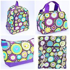 Girl's Backpack Lunch Bag Drawstring Pencil Case 4 Piece Set Purple Flowers Nwt