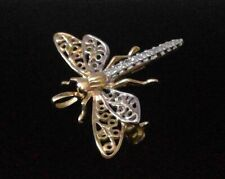 Brooch Lovely Condition Two Tone Wings 14k Yellow Gold Diamonds Dragonfly Pin
