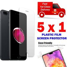 5 X FOR APPLE PHONE 5C,SE,6,7,8,XS,10 PLASTIC FILM SCREEN PROTECTOR F&FREE POST