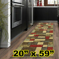 "Carpet Runners Rug Contemporary Boxes Design 20""x59"" for Hallway Kitchen Stove"