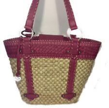 Brighton Women Handbag Wicker and Pink Leather  Shoulder Beach Tote Shopper