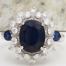 5.55Ct Natural Blue Sapphire & Diamond 14K White Solid Gold Ring