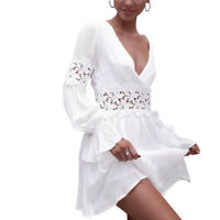 Women White Lace Hollow Waist Backless Sexy V-neck Elegant Bubble Sleeve Dress