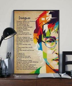 Imagine John Lennon Lyrics Poster Glossy No Frame Art Print Best Gift Ever Decor