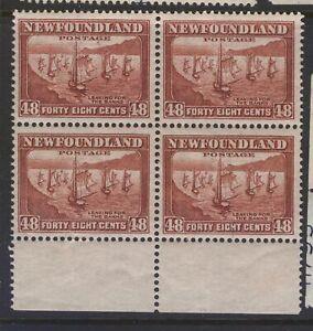 NEWFOUNDLAND 199 NSSC 193 1932 48c RED BROWN FISHING FLEET BLOCK OF 4 MNH CV$300