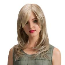 """Women Medium Long Straight Synthetic Hair Wigs Lace Front Light Blonde 18"""""""