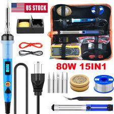 Soldering Iron Gun Tool Kit 110v 80w Welding Set Tip Cleaner Station Solder Wire