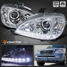 98-01 Mercedes Benz W163 ML Class Chrome Projector Headlights w/ LED DRL Strip