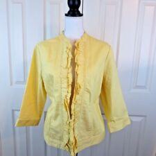CHICO'S Women's Open Front Jacket Blazer Sz 2 Yellow Denim Jean Ruffle M 12 $109