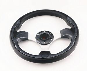 JDM Battle Racing Sport Drifting Black PVC Racing Steering Wheel 6 Bolt Horn 320