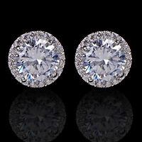 925 Silber Sterling Kristall Zirkon eingelegte Ohrstecker Ohrringe Schmuck GUT