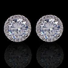 Women's 18K White Gold Plated Crystal Zircon Inlaid Ear Stud Earrings Jewelry NS