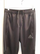 Men's ADIDAS Black Skinny Track Pants w/ 3 Gray Stripes - Size Small