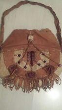 Vintage brown, leather, straw and wood, bag handbag, bead detail, large, boho.