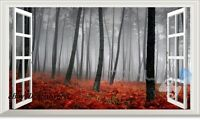 60X100 Foggy Autumn Red Forest 3D Window Removable Wall Decals Sticker decor Art