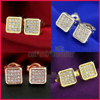 18K GOLD GF CT SIMULATED DIAMOND MENS LADIES GIRLS 6MM SQUARE STUD EARRINGS GIFT