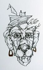 Original,unique and unusual black ink drawing **FEELING BRAVE**