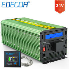 EDECOA Power Inverter 3000W 6000W dc 24V to ac 110 120V car automotive LCD cable