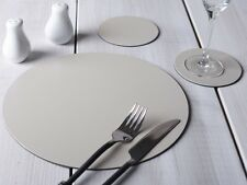 Set of 4 STONE GREY Round Leatherboard PLACEMATS & 4 COASTERS (8 Piece Set)