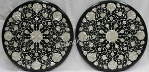 Set of 2 Pieces Marble Coffee Table Inlay with MOP Art Patio Side Table Size 21""