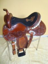 Designer western Leather Show CARVING saddle Brown size 16""