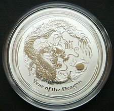 GEM !  2012 ~ PURE .999 SILVER 1/2~Z ~ YEAR of the DRAGON ~ PERTH  MINT ~ $24.88