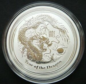 GEM !  2012 ~ PURE .999 SILVER 1/2~Z ~ YEAR of the DRAGON ~ PERTH  MINT ~ $44.88