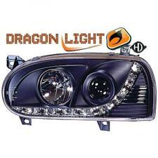 Scheinwerfer Set für VW Golf 3 91-97 Klarglas/Schwarz Dragon Lights