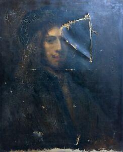 Tableau ancien, Huile sur toile à restaurer, Portrait d'homme, XIXe