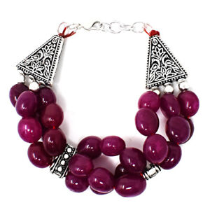 "230.00 Cts Earth Mined 6"" Long Red Ruby Oval Shape Beads Bracelet JK 23E264"