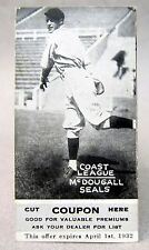 1931 Zeenut with coupon McDOUGALL Seals PCL baseball card