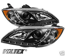 2004-2008 MAZDA 3 4DR DRL LED PROJECTOR HEADLIGHTS LIGHTBAR LIGHT BAR BLACK