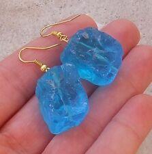 Ocean Rough Silver Or Gold Gem Earrings Spa Blue Quartz vivid Aqua Frosted Icy