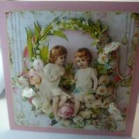 Handmade 3D Victorian girls angel thinking of you birthday or mothers day card