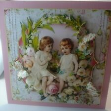 Handmade 3D Victorian girls angel thinking of you birthday or mother's day card
