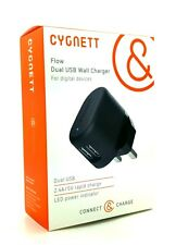 Genuine Cygnett 2.4A Dual USB Fast Wall Charger Black For Samsung S9 Plus And S9