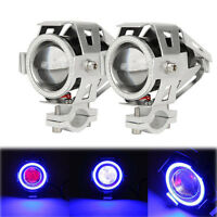 Pair Motorcycle Angel Eye U7 LED 125W Work Lamp Headlight Driving Fog Spot Light