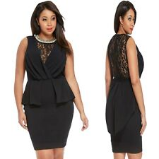 Sz 18 20 Black Sleeveless Lace Evening Formal Party Slim Fit Peplum Dress