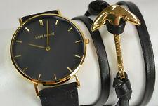 I AM KAMU Uhr Enigma Velvet Black Gold + Anker Wickelarmband Neu; K66 299