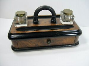 Antique Victorian Walnut Ebony Double Inkwell Stand w/ Pen Holder Tray & Drawer