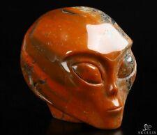 """2.0"""" RED JASPER Star Being Female Alien Crystal Skull Companion,Reiki Healing"""